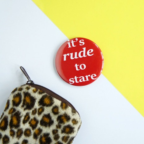 It's Rude to Stare red mirror on yellow and white background with leopard print purse