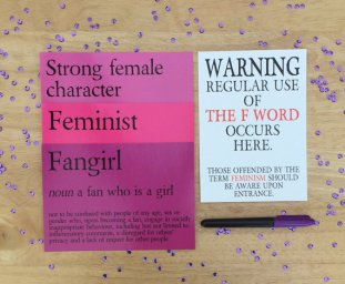 Feminism prints. Fangirl, Strong Female Character, Feminist Definition prints on purple sequin background