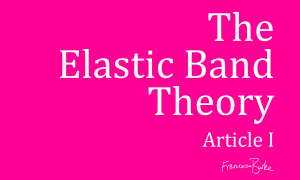 pink and white advert for The Elastic Band Theory story by Francesca Burke