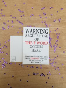 Feminism Warning Print purple sequin background