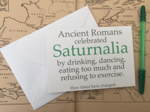 Saturnalia Christmas card Roman history