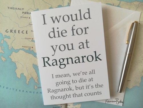 I Would Die for You at Ragnarok Card front with pen