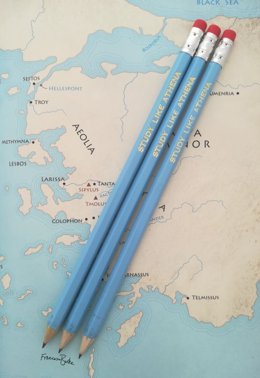 blue and gold foil pencils 'study like Athena'