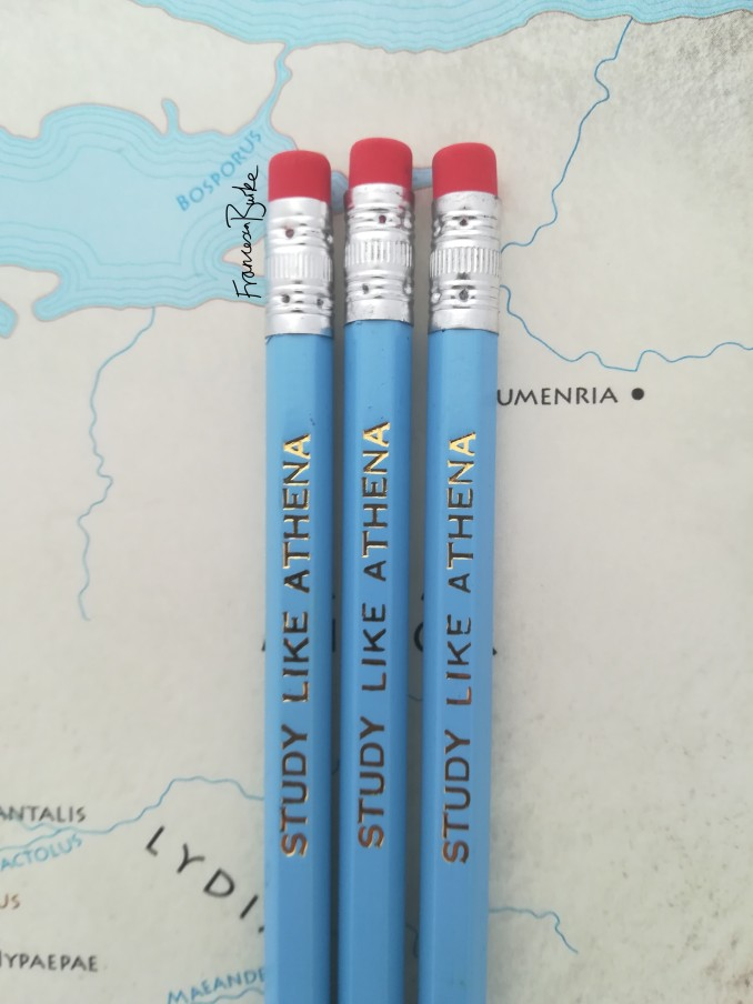 blue and gold study like Athena pencils with erasers