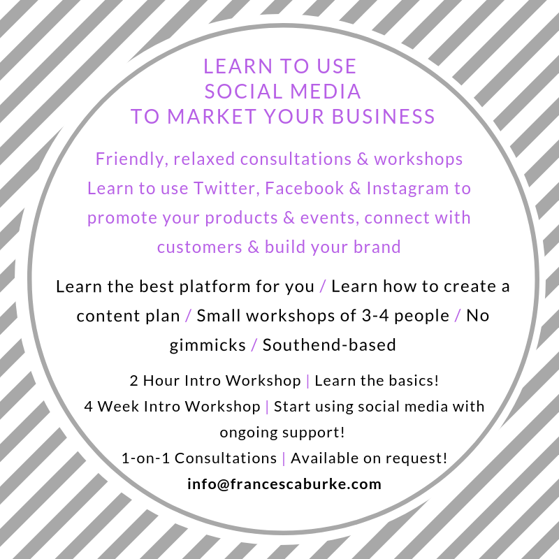 advert for social media marketing workshops and consultations in Southend-on-Sea, Essex