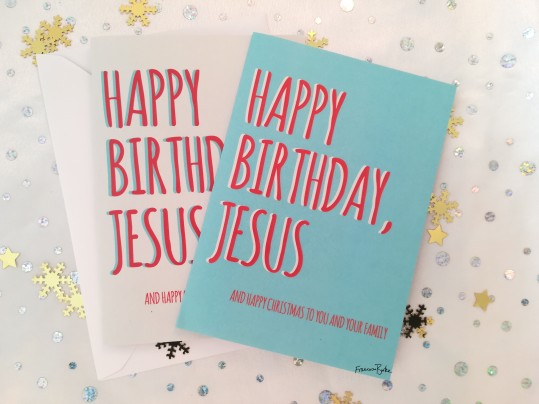 blue and white cards reading Happy Birthday Jesus