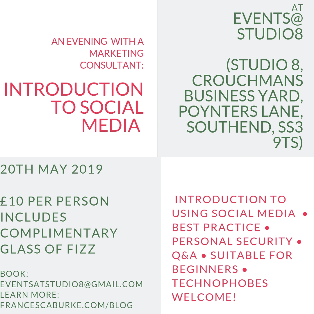 advert for Into to Social Media Evening at Events at Studio8, Southend-on-Sea